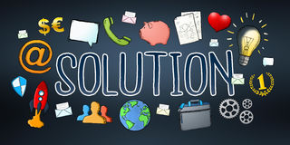 Hand-drawn solution text with icons. On dark background Royalty Free Stock Photos