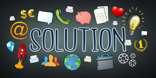 Hand-drawn solution text with icons. On dark background Royalty Free Stock Photography