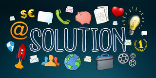 Hand-drawn solution text with icons. On dark background Stock Photography