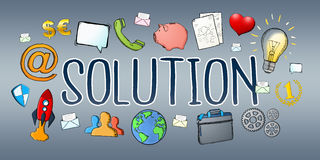Hand-drawn solution text with icons. On grey background Royalty Free Stock Photos