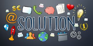 Hand-drawn solution text with icons. On dark background Royalty Free Stock Image