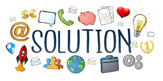 Hand-drawn solution text with icons. On white background Stock Photo