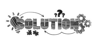 Hand-drawn solution text. On white background Stock Photos