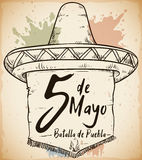 Hand Drawn Sombrero for Mexican Cinco de Mayo Celebration, Vector Illustration Stock Photo
