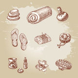 Hand drawn spa and thai massage element set Royalty Free Stock Photography