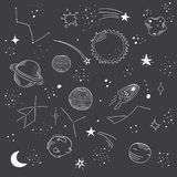 Hand drawn space doodle pattern. royalty free stock images