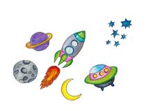 Hand drawn space elements Space background. Space doodle illustration. cartoon space rockets, planets, stars royalty free stock photos