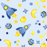 Hand drawn space elements seamless pattern. Space watercolor illustration and background. Cartoon space rockets, planets, stars stock illustration
