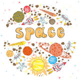 Hand drawn space. kids vector illustration Royalty Free Stock Image