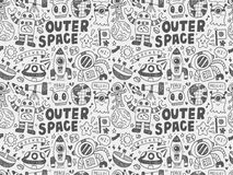 Hand drawn space related object in seamless background Stock Image