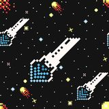 Hand drawn space ships and asteroids seamless pattern.  Royalty Free Stock Images