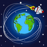 Hand drawn spaceship flying around the world Royalty Free Stock Photo