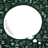 Hand drawn speech bubble on chalkboard. Vector doodle illustartion with objects for design Royalty Free Stock Photo