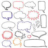 Hand drawn speech bubbles cloud doodle vector set Stock Photo
