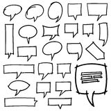 Hand Drawn Speech Bubbles Design Elements. Collection of 24 hand drawn speech bubbles. Optimized for easy color changes. EPS8 vector Royalty Free Stock Photo