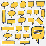 Hand Drawn Speech Bubbles Design Elements. Collection of 24 hand drawn speech bubbles. Optimized for easy color changes. EPS8 vector Stock Photo