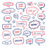 Hand drawn speech bubbles Stock Images