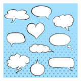 Hand-drawn speech bubbles template. Collection of comic style speech bubbles. Set of cloud, oval, rectangle and jagged shape. Hand-drawn speech bubbles template Royalty Free Stock Image