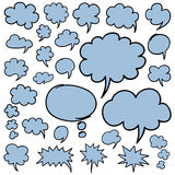 Hand Drawn Speech Bubbles and Thought Clouds Design Elements. Set of hand drawn speech bubbles and thought clouds. Optimized for easy color changes. EPS8 vector Stock Images