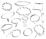 Hand-drawn speech bubbles vector Royalty Free Stock Photos