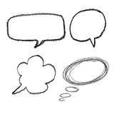 Hand drawn speech bubbles on  watercolor paper isolated on white Stock Photos