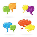 Hand Drawn Speech double Bubbles Stock Image
