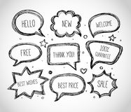 Hand-drawn speech and thought bubbles on white background. Vector sketch illustration. Royalty Free Stock Photography
