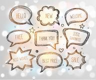 Hand-drawn speech and thought bubbles on white glowing background. Vector sketch illustration Stock Photos