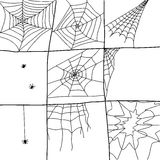 Hand Drawn Spider Webs Royalty Free Stock Images