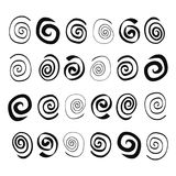 Hand drawn Spirals in different forms stock illustration