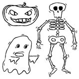 Hand drawn spooky creatures Stock Photo