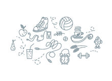 Hand drawn sport equipment icons vector illustration. Royalty Free Stock Images