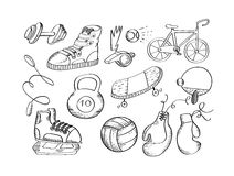 Hand drawn sport equipment icons vector illustration Stock Image