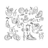 Hand drawn sport equipment icons vector illustration Royalty Free Stock Image