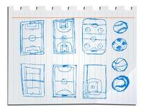 Hand drawn sport fields stock illustration