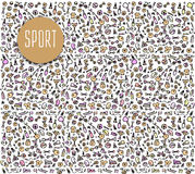 Hand drawn Sport and fitness elements, seamless pattern Stock Photography