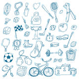 Hand drawn sport icon set. Fitness and sport. Healthy lifestyle Stock Image