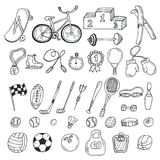 Hand drawn sport icon set. Fitness and sport Royalty Free Stock Images