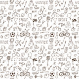 Hand drawn sport seamless pattern. Healthy lifestyle Royalty Free Stock Photos