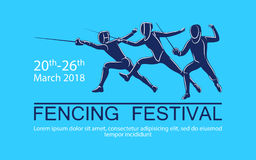Hand drawn sportsman silhouette. Vector illustration of fencers in attack with foil, sabre, epee. Tournament for all weapons. Fencing competition advertising Royalty Free Stock Image