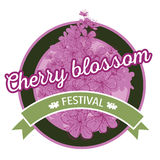 Hand drawn spring cherry blossom icon Royalty Free Stock Photo