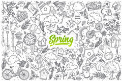 Hand drawn Spring doodle set with lettering stock illustration