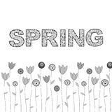 Hand drawn spring lettering. With floral background. Digital art. Vector EPS 10 illustration Stock Images