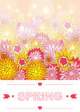 Hand drawn spring lettering. With floral background. Digital art. Vector EPS 10 illustration Stock Photo
