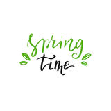 Hand drawn Spring time lettering. Perfect design for greeting cards and invitations. Stock Photography