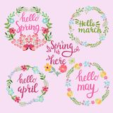 Hand drawn spring wreaths with text Hello spring, march, April,. May lettering. Spring flowers with branches and leaves, spring time concept Stock Photo