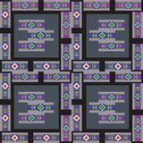 Zigzag square geometric seamless pattern background. Trendy geometrical vector illustration ready for fashion textile. Hand drawn square batik tribal motifs royalty free illustration