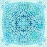 Hand drawn square blue ornament Stock Photos