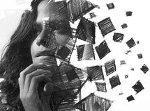Paintography. Double Exposure charcoal drawing combined with por. Hand drawn squares surround her face, creating an impressive visual effect of her dissolution Royalty Free Stock Photos