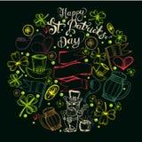Hand drawn  St. Patrick` Day set. Doodles.Symbols of Irish Royalty Free Stock Image